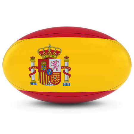 pelota rugby: Spain Rugby - Spanish Flag on Rugby Ball on White