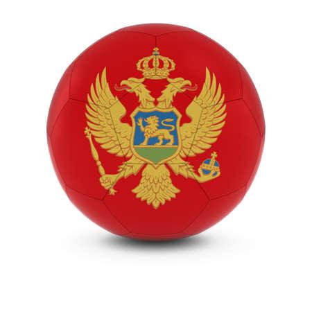 montenegro: Montenegro Football - Montenegrin Flag on Soccer Ball Stock Photo