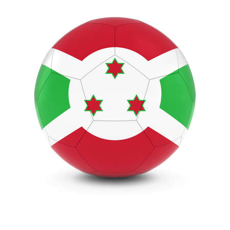 burundi: Burundi Football - Burundian Flag on Soccer Ball Stock Photo