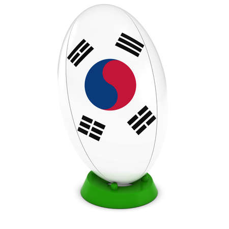 korean flag: South Korea Rugby - South Korean Flag on Standing Rugby Ball