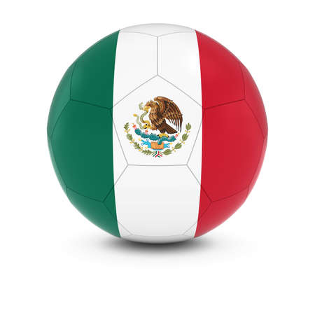 mexican flag: Mexico Football - Mexican Flag on Soccer Ball Stock Photo