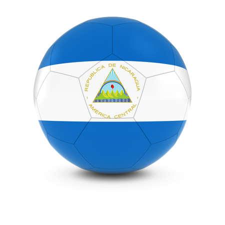 nicaraguan: Nicaragua Football - Nicaraguan Flag on Soccer Ball Stock Photo
