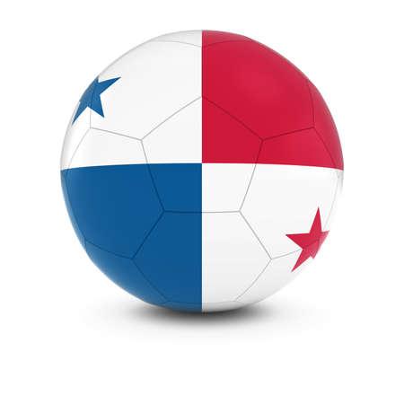 bandera de panama: Panam� F�tbol - Bandera de Panam� en el bal�n de f�tbol Foto de archivo