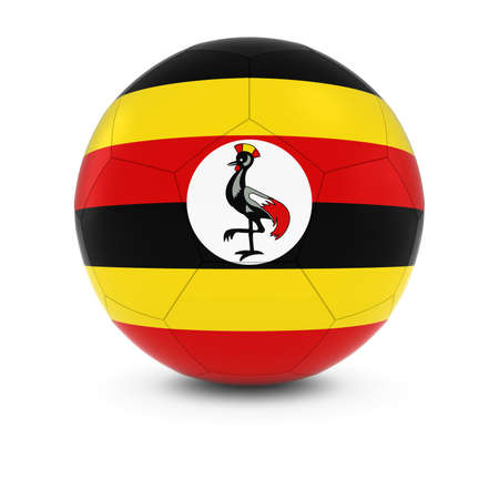ugandan: Uganda Football - Ugandan Flag on Soccer Ball