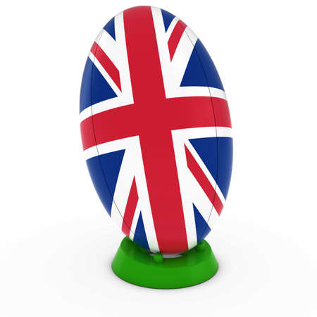 union jack flag: UK Rugby - Union Jack Flag on Standing Rugby Ball Stock Photo