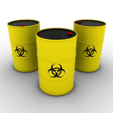 biological waste: Yellow Biohazard Barrels Background 3D Illustration