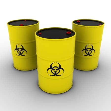 biohazard: Yellow Biohazard Barrels Background 3D Illustration