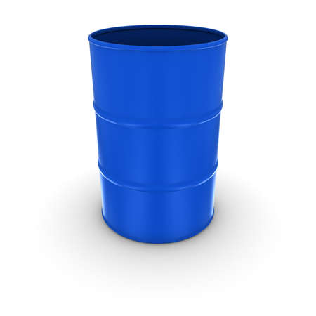 oil drum: Plain Blue Oil Drum with Open Lid Isolated 3D Illustration Stock Photo