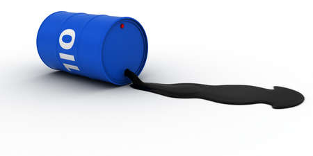 spillage: Blue Oil Barrel Leaking Crude Oil 3D Illustration Stock Photo