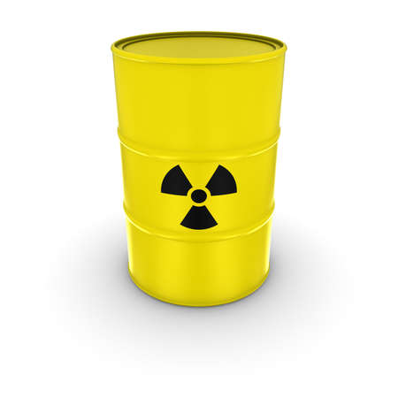 barrels with nuclear waste: Isolated Yellow Radioactive Waste Barrel 3D Illustration Stock Photo