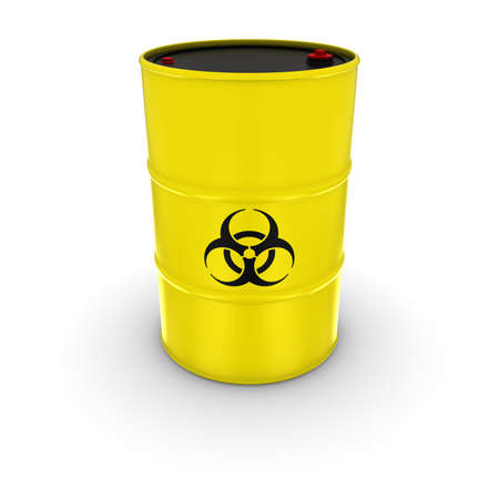 chemical hazard: Isolated Yellow Biohazard Barrel 3D Illustration