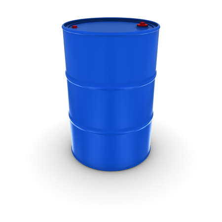 fossil fuel: Plain Blue Oil Drum With Red Caps Isolated 3D Illustration