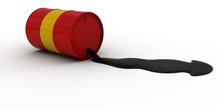 spillage: Red and Yellow Painted Oil Barrel Leaking Crude Oil 3D Illustration