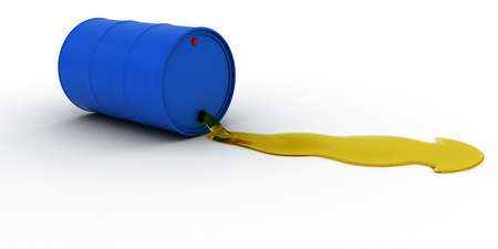 leaking: Blue Oil Barrel Leaking Golden Oil 3D Illustration