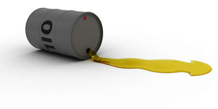 spillage: Grey Oil Barrel Leaking Golden Oil 3D Illustration Stock Photo