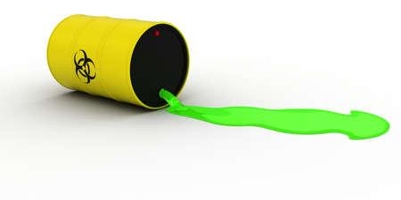 residuos toxicos: La fuga de residuos t�xicos Fuera de la ilustraci�n de riesgo biol�gico 3D barril
