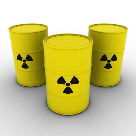 radioactive: Yellow Radioactive Waste Barrels Background 3D Illustration Stock Photo