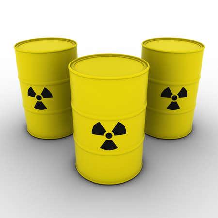 nuke: Yellow Radioactive Waste Barrels Background 3D Illustration Stock Photo