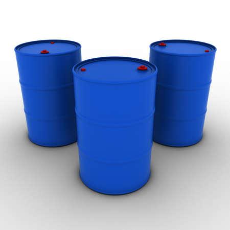 Blue Barrels Background 3D Illustration
