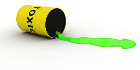 residuos toxicos: La fuga de residuos t�xicos Fuera de Ilustraci�n 3D de barril