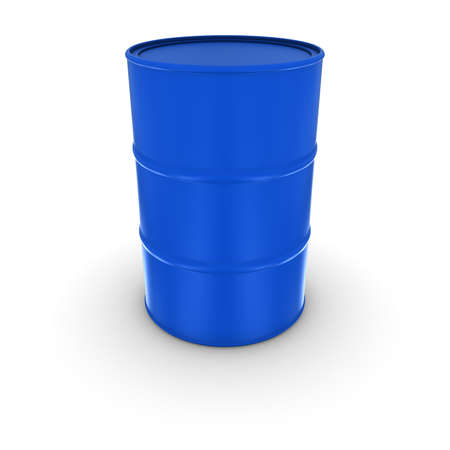 oil drum: Plain Blue Oil Drum With Solid Sealed Lid Isolated 3D Illustration