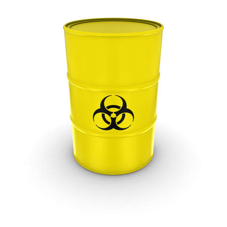 waste 3d: Isolated Yellow Biohazard Waste Barrel 3D Illustration