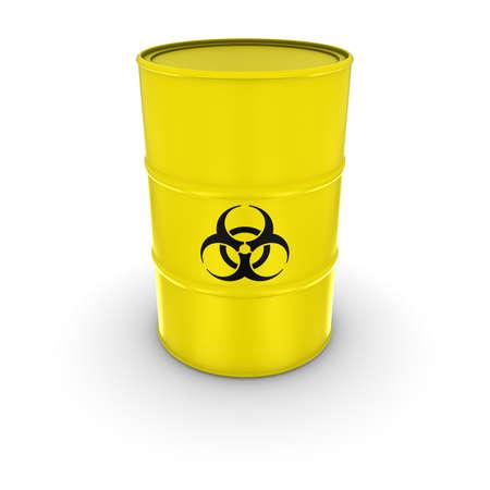 nuke: Isolated Yellow Biohazard Waste Barrel 3D Illustration