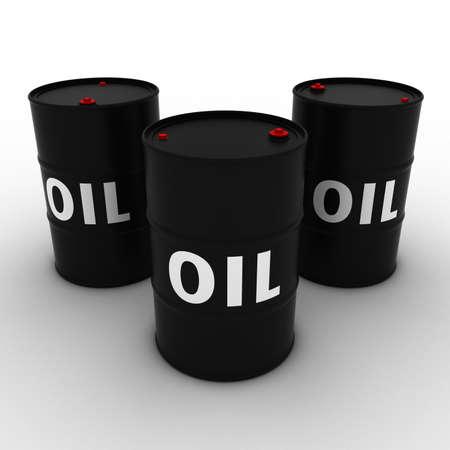fossil fuel: Black Oil Barrels Background 3D Illustration