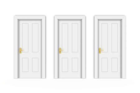 sealed: Three Closed White Doors in Line - Isolated on White 3D Illustration Stock Photo