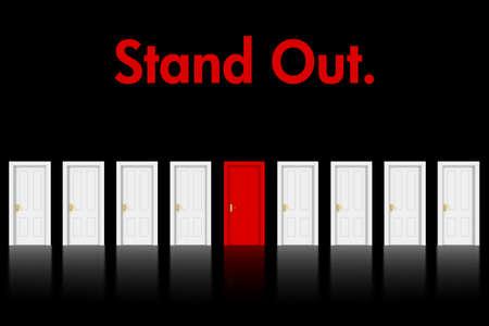 Stand Out Red Door-Konzept auf schwarzem Hintergrund - 3D-Illustration