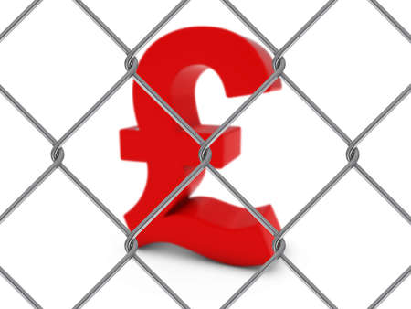 chain link fence: Red Pound Symbol Behind Chain Link Fence with depth of field - 3D Illustration Stock Photo