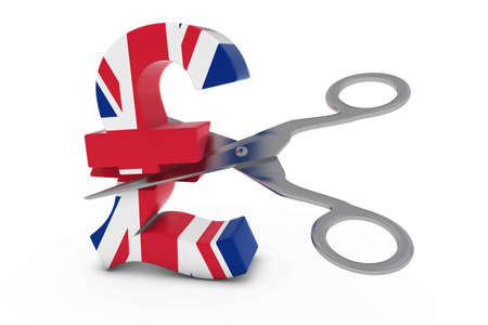 pound symbol: UK Price CutDeflation Concept - British Flag Pound Symbol Cut in Half with Scissors - 3D Illustration Stock Photo