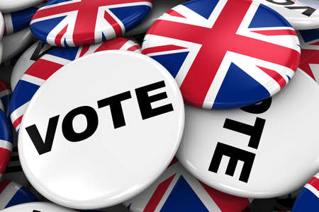 poling: UK Elections Concept Image - Mix of Vote and British Flag Badges in Pile - 3D Illustration