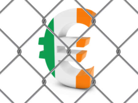 link fence: Irish Flag Euro Symbol Behind Chain Link Fence with depth of field - 3D Illustration