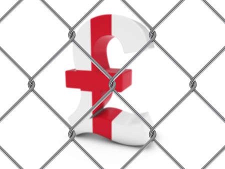 bandiera inglese: English Bandiera Simbolo della sterlina Dietro Chain Link Fence con profondit� di campo - illustrazione 3D Archivio Fotografico