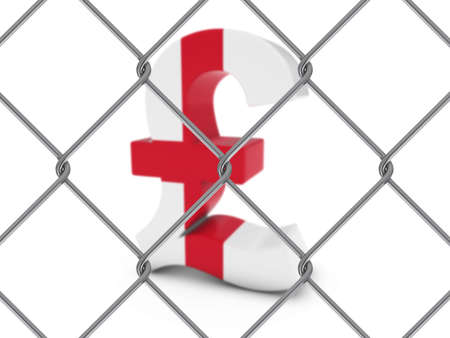 chain link fence: English Flag Pound Symbol Behind Chain Link Fence with depth of field - 3D Illustration Stock Photo