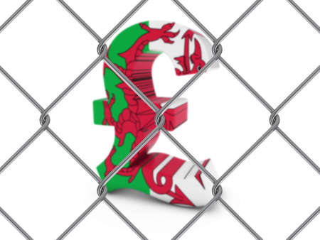 pound symbol: Welsh Flag Pound Symbol Behind Chain Link Fence with depth of field - 3D Illustration