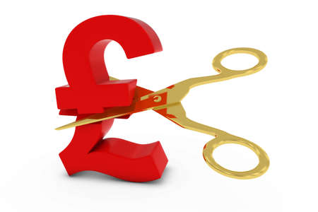 pound symbol: Price CutDeflation Concept - Red Pound Symbol Cut in Half with Scissors - 3D Illustration