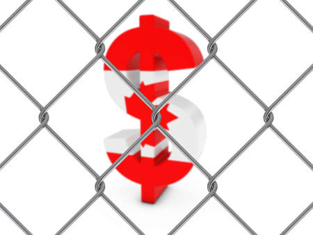 chain link fence: Canadian Flag Dollar Symbol Behind Chain Link Fence with depth of field - 3D Illustration