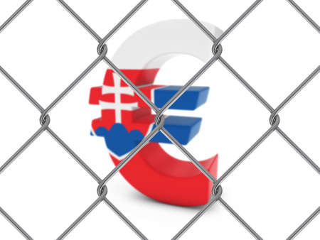 chain link fence: Slovakian Flag Euro Symbol Behind Chain Link Fence with depth of field - 3D Illustration