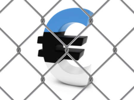 link fence: Estonian Flag Euro Symbol Behind Chain Link Fence with depth of field - 3D Illustration Stock Photo