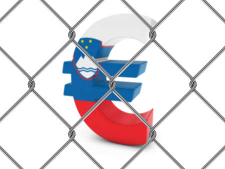 slovenian: Slovenian Flag Euro Symbol Behind Chain Link Fence with depth of field - 3D Illustration