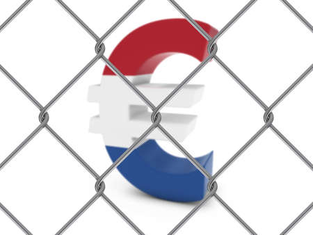 chain link fence: Dutch Flag Euro Symbol Behind Chain Link Fence with depth of field - 3D Illustration Stock Photo
