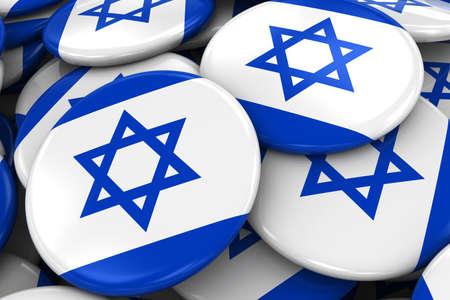 israeli flag: Pile of Israeli Flag Badges - Flag of Israel Buttons piled on top of each other - 3D Illustration Stock Photo