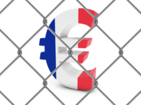 chain link fence: French Flag Euro Symbol Behind Chain Link Fence with depth of field - 3D Illustration
