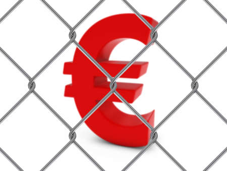 chain link fence: Red Euro Symbol Behind Chain Link Fence with depth of field - 3D Illustration