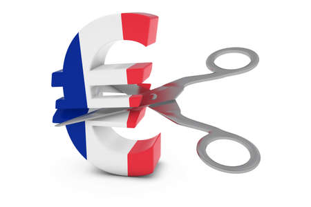 french flag: France Price CutDeflation Concept - French Flag Euro Symbol Cut in Half with Scissors - 3D Illustration Stock Photo