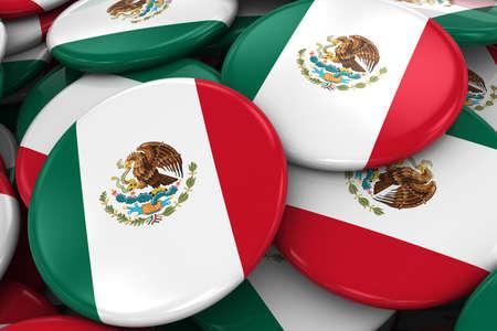 bandera de mexico: Pila de la bandera mexicana Placas - Bandera de M�xico Botones apilados uno encima del otro