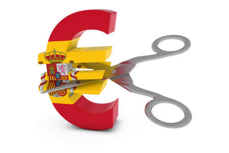 spanish flag: Spain Price CutDeflation Concept - Spanish Flag Euro Symbol Cut in Half with Scissors - 3D Illustration