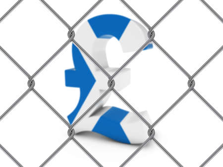 pound symbol: Scottish Flag Pound Symbol Behind Chain Link Fence with depth of field - 3D Illustration Stock Photo